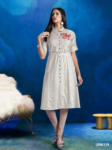 Beautiful Designer White Color Printed Cotton Kurti