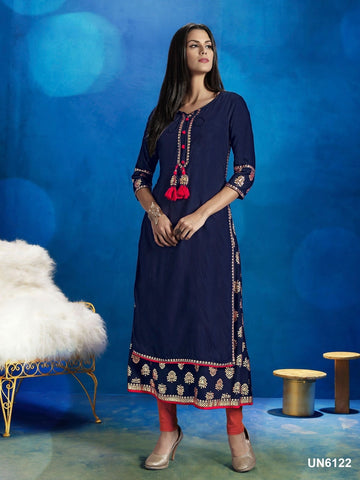 Beautiful Designer Navy Blue Color Printed Cotton Kurti
