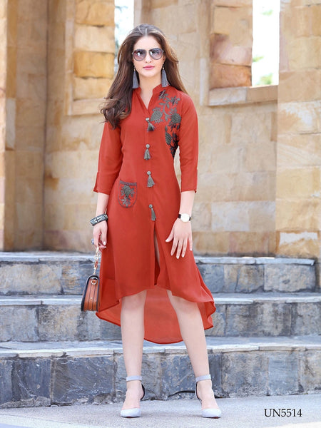 Beautiful Embroidered Work Brown Color Georgette Kurti
