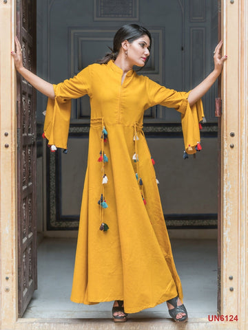 Beautiful Designer Yellow Color Plain Rayon Kurti