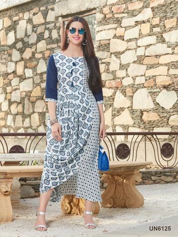 Beautiful Designer Blue Color Printed Rayon Kurti