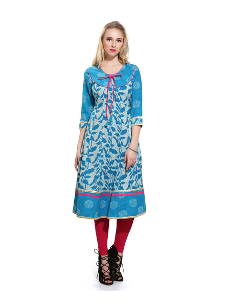Beautiful Printed Turquoise Color Cotton Anarkali Kurta