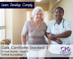 Care Certificate Standard 3 - Online Training Course - The Mandatory Training Group UK -