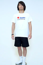 LATTE SCREEN PRINT EMBROIDERY TEE COME IN A MILK BOX