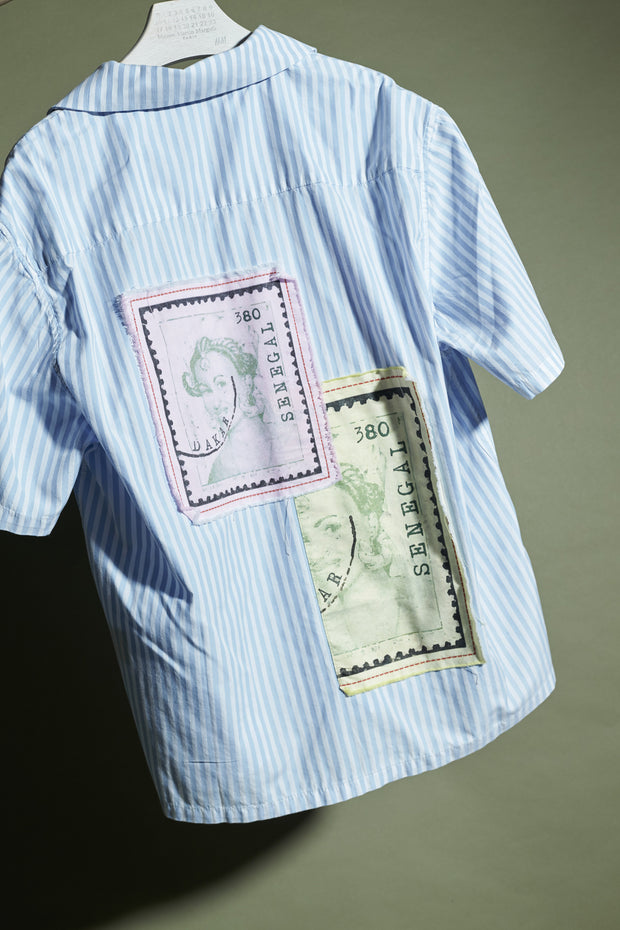 SHIRT WITH STAMP PATCHWORK ON BACK