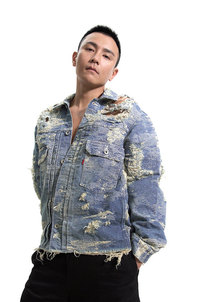 TAAKK DISTRESSED DENIM JACKET LIGHT WEIGHT HANDCRAFTED