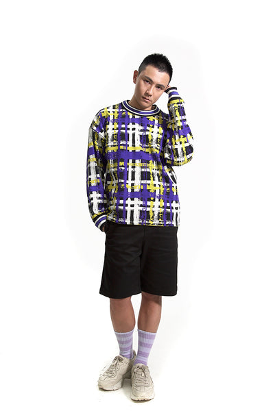 TAAKK HANDPAINTED BLUE CHECK SWEATSHIRT