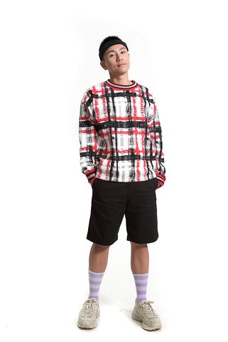 TAAKK HANDPAINTED CHECK PRINT SWEATSHIRT