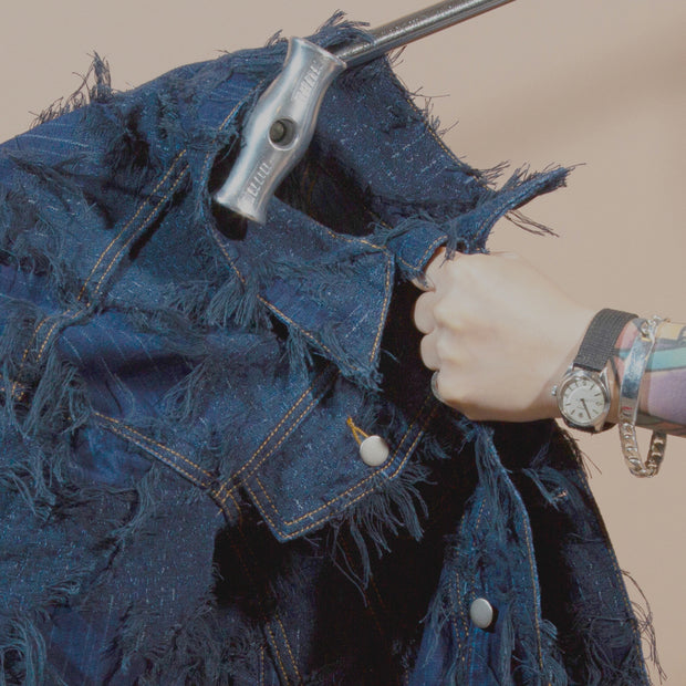 DENIM JACKET WITH ALLOVER TASSEL