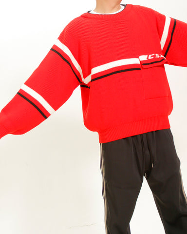 CHUNKY RED LOGO KNIT