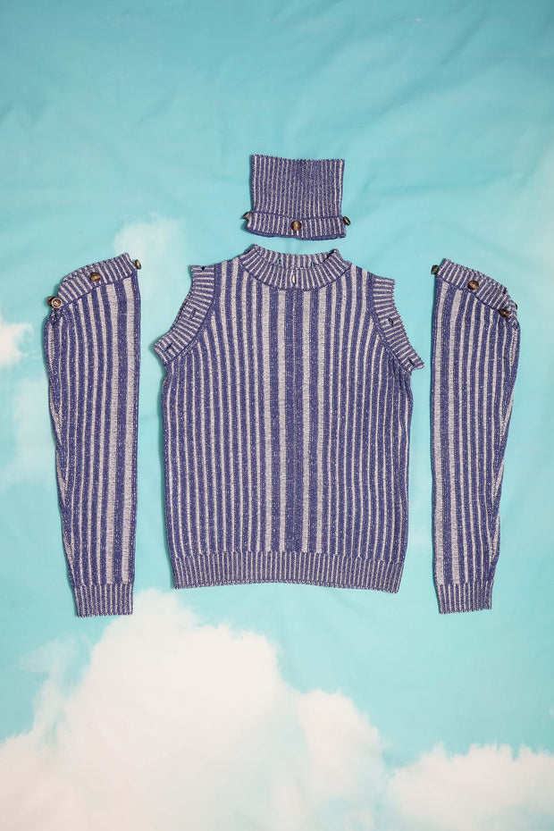 CONTRAST RIB KNIT TURTLENECK