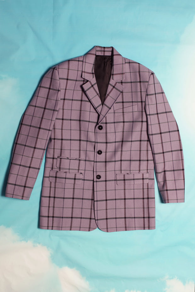 PURPLE CHECKS DETROIT BLAZER