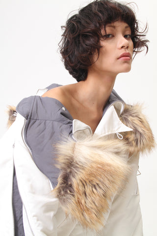 FAUX FUR-TRIMMED SHELL JACKET