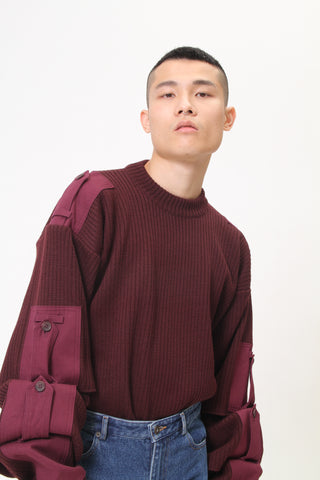 ARCHIEVE - COTTON CANVAS-TRIMMED RIBBED WOOL SWEATER