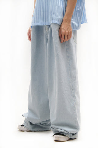 FOLD-FRONT WIDE-LEG DENIM JEANS