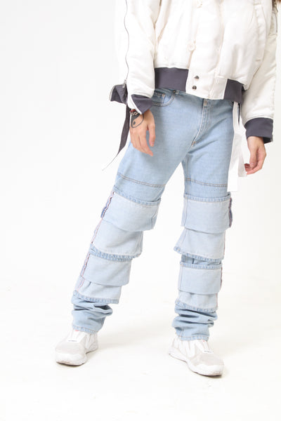 ICE BLUE LAYERED HIGH-RISE STRAIGHT-LEG JEANS