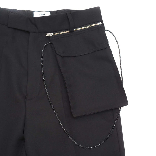 TROUSERS WITH DETACHABLE POUCH