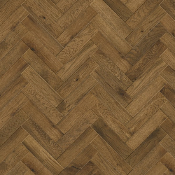 100mm x 400mm Smoked Fumed & Brushed European Herringbone Oak Wood Flooring 14mm Thick