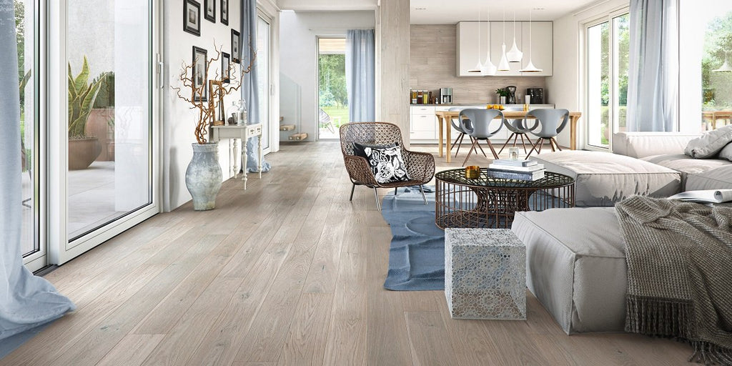 155mm Classic Grey Oak Brushed Matt Lacquered Engineered European Oak Wood Flooring 14 Thick