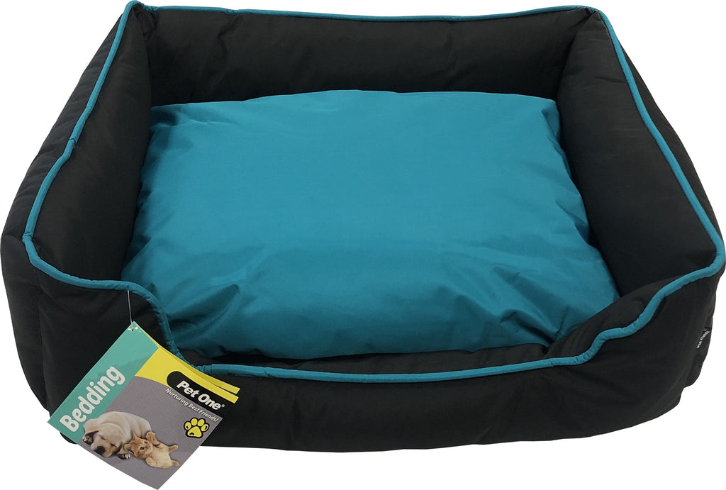 Pet One Stay Dry Bed - Black & Turquoise