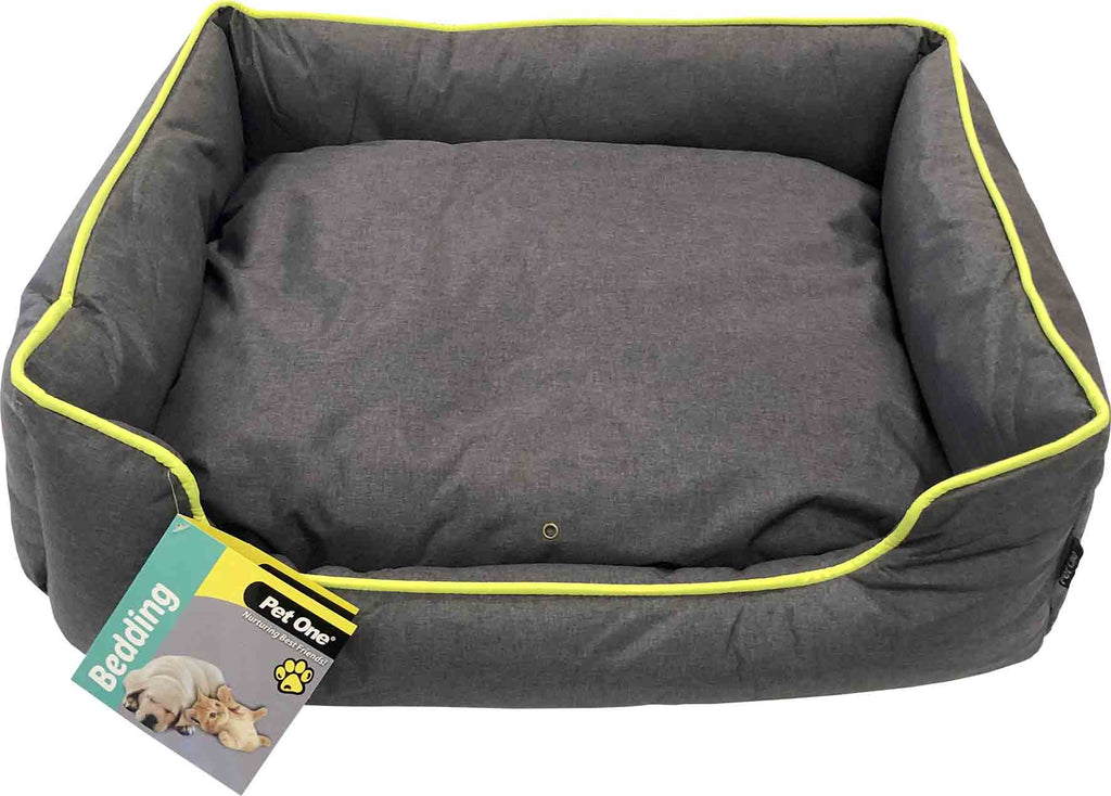 Pet One Stay Dry Bed - Grey/Neon Yellow