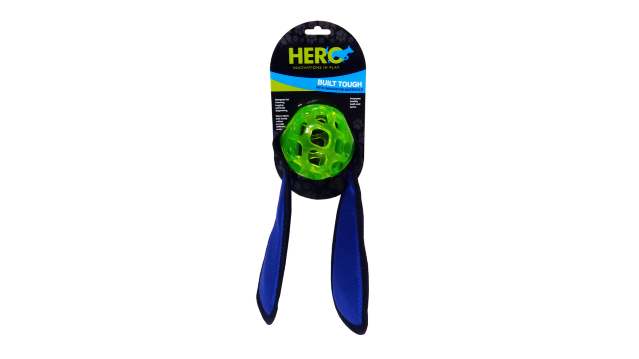 Hero Treat Ball with Fabric Tug Ears - Mudpuppy