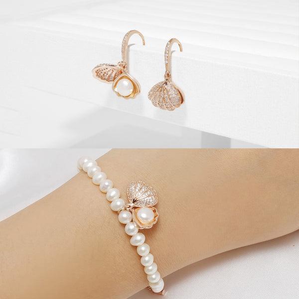 Shine Shelly Freshwater Pearl Earrings & Bracelet
