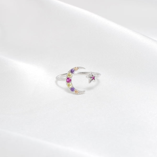 Rainbow Moon&Star Ring