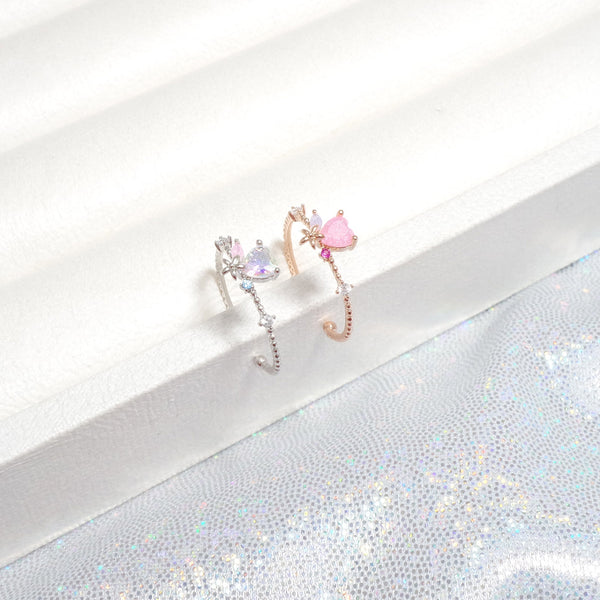 Adorable Heart Beam Pinky Ring