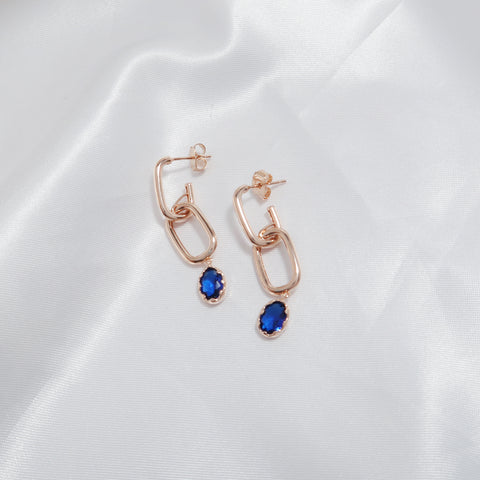 Marine Blue Oval Earrings [WWW]