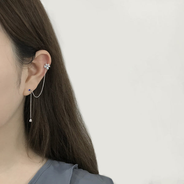 Lolli Blue flower Earrings/Ear cuff [Two-two]