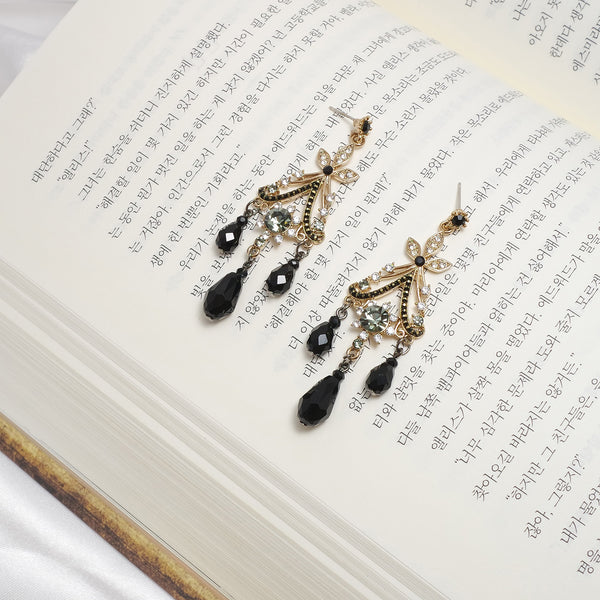 Black Dress Antique Earrings  [Del Luna]