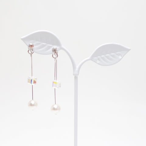 Susan Swarovski Pearl & Cube Earrings