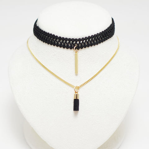 Choker Necklace Double Layered Style