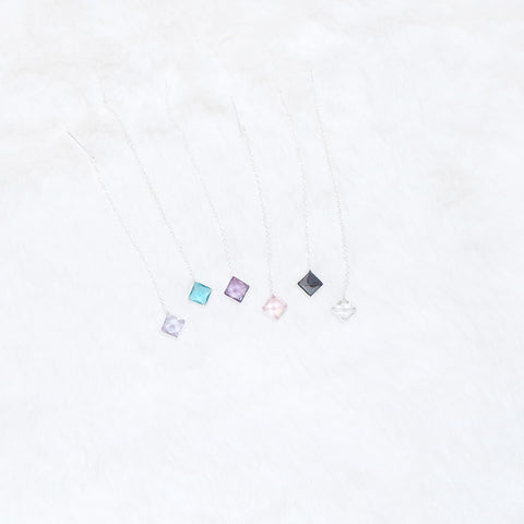 [SS]Vivian Square Pendant Earrings (Sterling Silver)