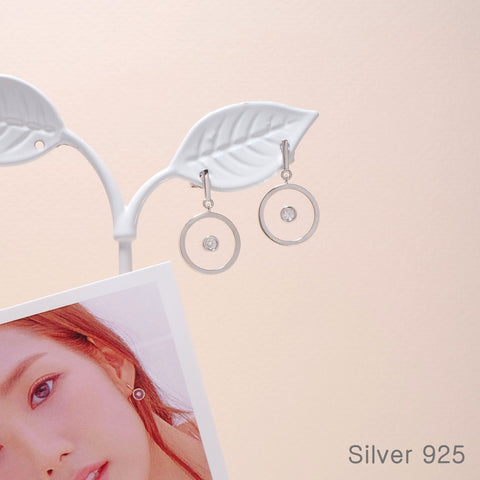 Clear Round Dangled Earrings