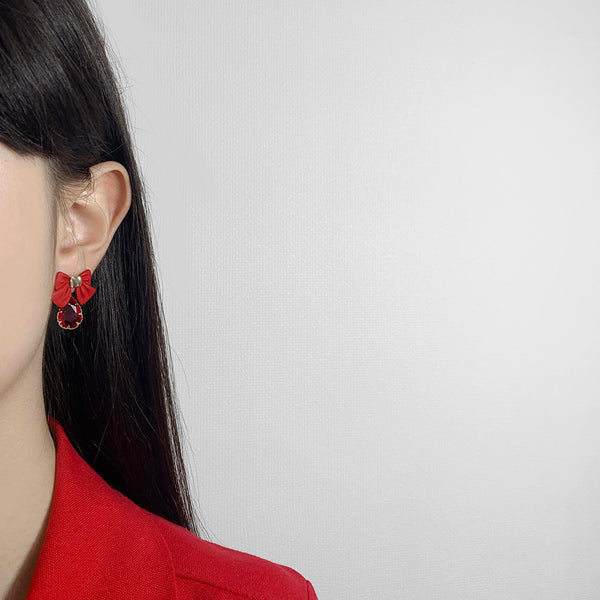 Fortunate Red Ribbon Earrings
