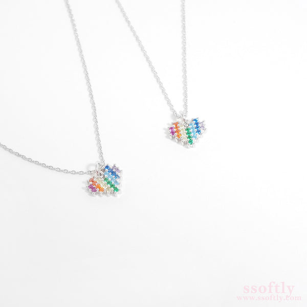 Rainbow In Heart Necklace[Rainbow Collection]