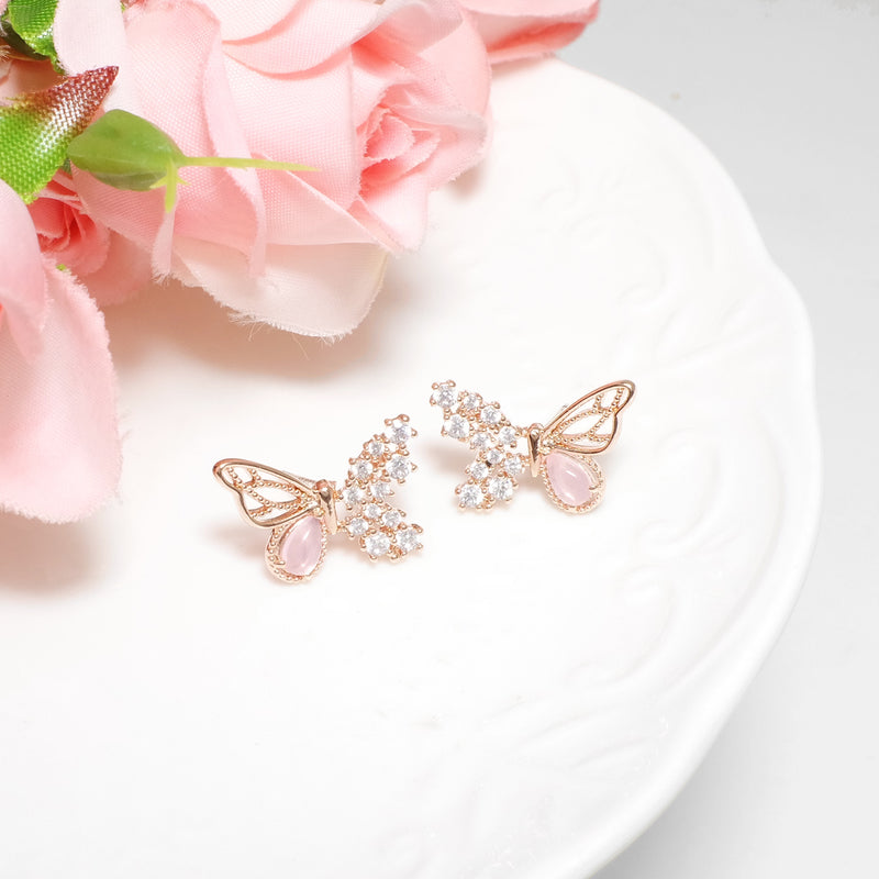 Rosy Pink Mariposa Earrings  [Two-two]