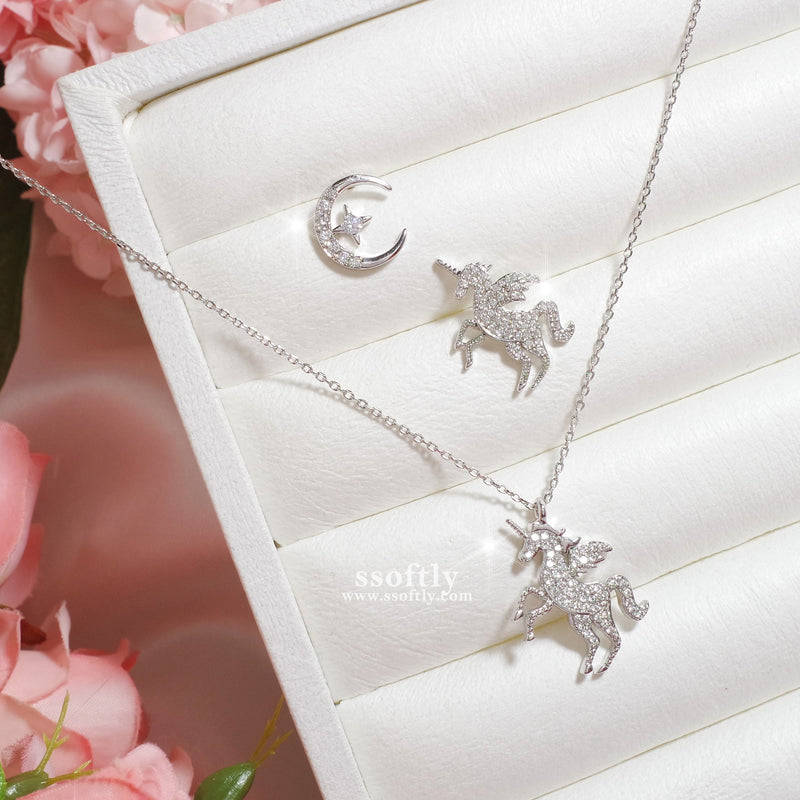 Moonlight Unicorn Necklace 2 for 1set