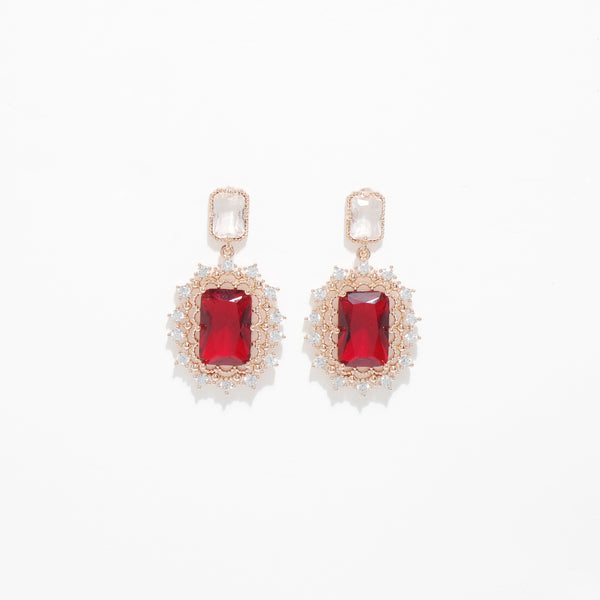 Red Crystal Square Earrings [Her Private Life]