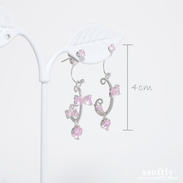 Pink Cantabile Ribbon Earrings [Two-two]