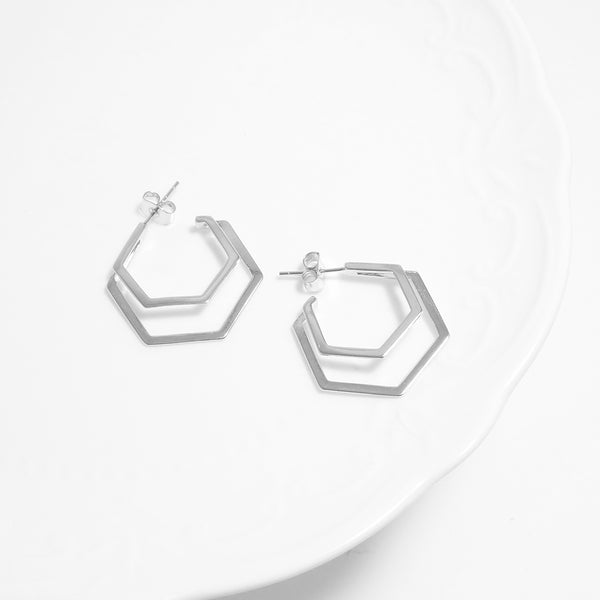 Double Hexagon Chic Earrings [WWW]