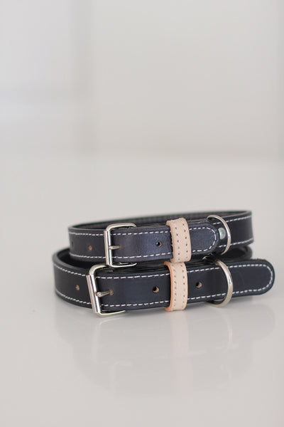 Benji + Moon | Handcrafted Leather dog collars black and beige