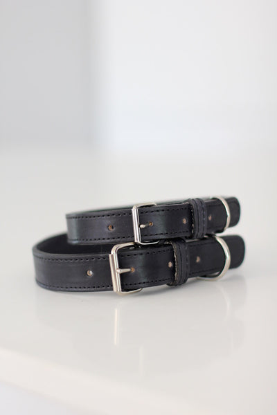 Benji + Moon | Handcrafted Leather dog collars black