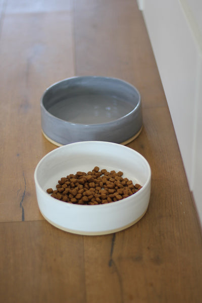 Benji + Moon | Large Ceramic Cat or Dog Bowl Grey White