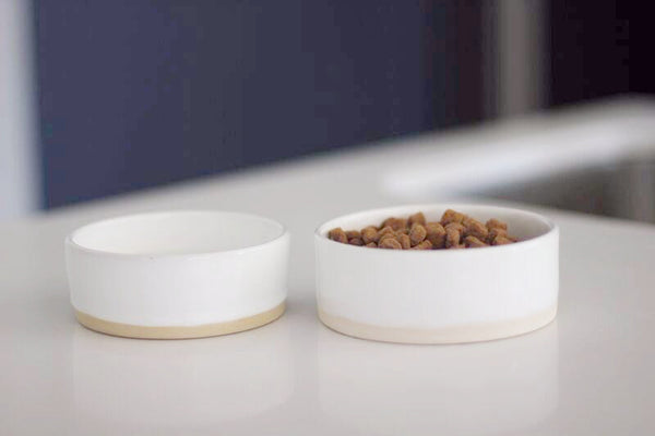 Benji + Moon | Small Ceramic Pet Cat Dog Bowl White