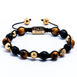 Tiger Eye & Matte Black Obsidian & White Zircon ball & & 18K Gold plating - Tra.Co - 1