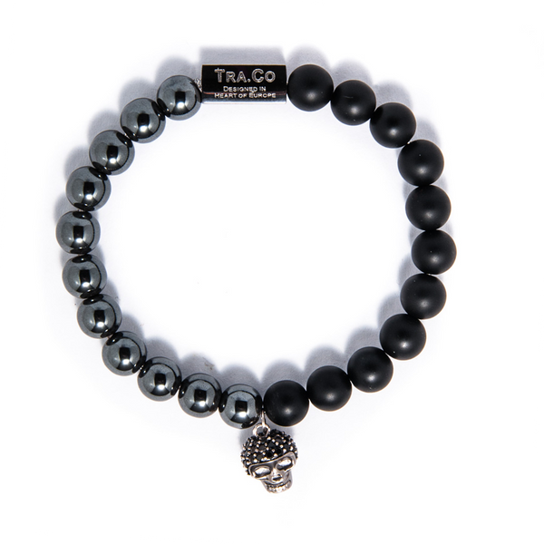 Hematite & Matte Onyx & 925 Sterling Silver Skull - Tra.Co
