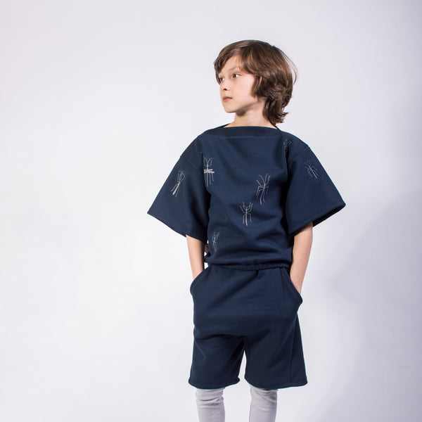 Walking Sticks-Navy - Organic Kimono Sweater